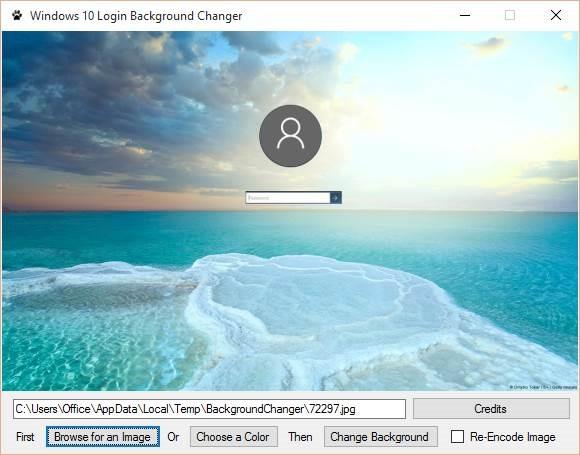 Cambiador de fondo de pantalla de inicio de sesión de Windows 10