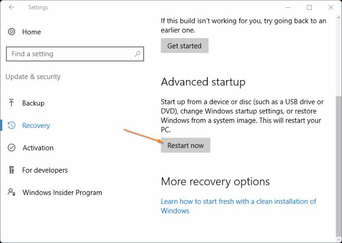 Acceso a la configuración de UEFI en Windows 10 step4