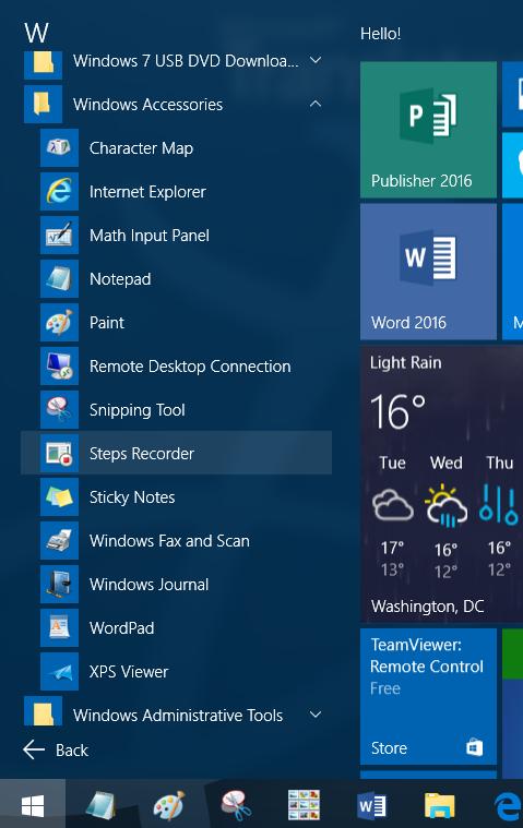 Falta carpeta de accesorios en Windows 10 step2