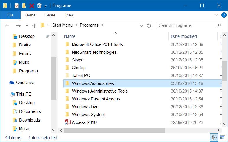 Falta carpeta de accesorios en Windows 10 step3