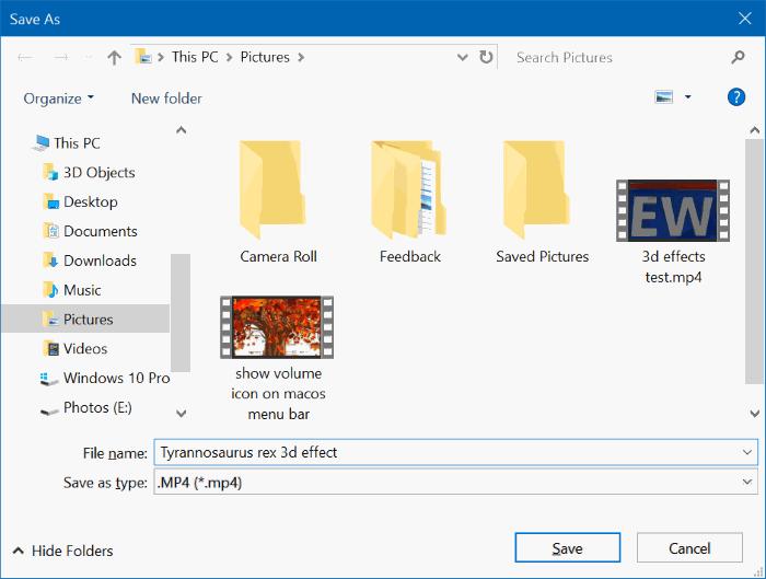 Añadir efectos 3D a imágenes con Photos app en Windows 10 pic6