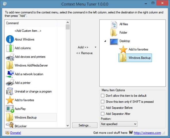 Add New Options As Hidden Entries To Context Menu
