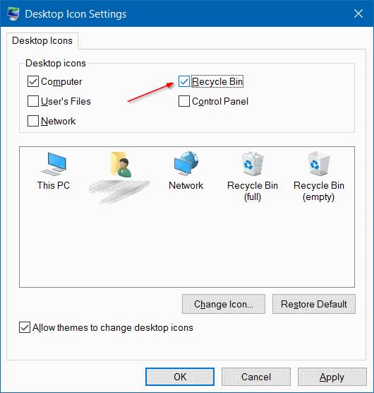 Quitar el icono de la papelera de reciclaje de Windows 10 desktop step3