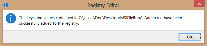 Add Run as administrator to MSI files in Windows