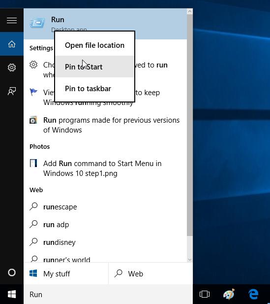 Agregar comando Ejecutar al menú Inicio en Windows 10 step2