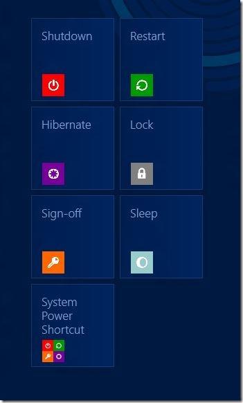 Add Shut down, Restart, Hibernate to Start Screen Windows 8