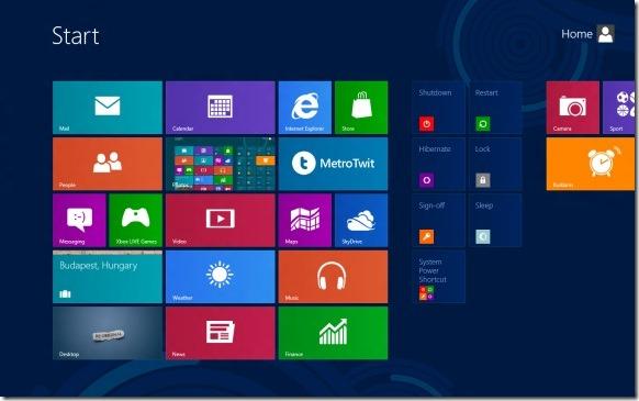 Add Shut down, Restart, Hibernate to Start Screen in Windows 8