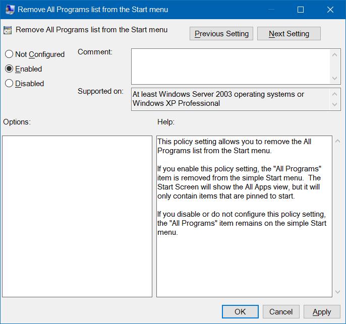 Agregar o quitar todas las aplicaciones al menú Inicio Windows 10 pic4