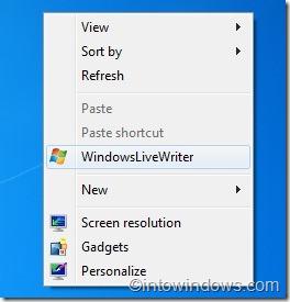 Agregar programas al menú contextual del escritorio en Windows 7