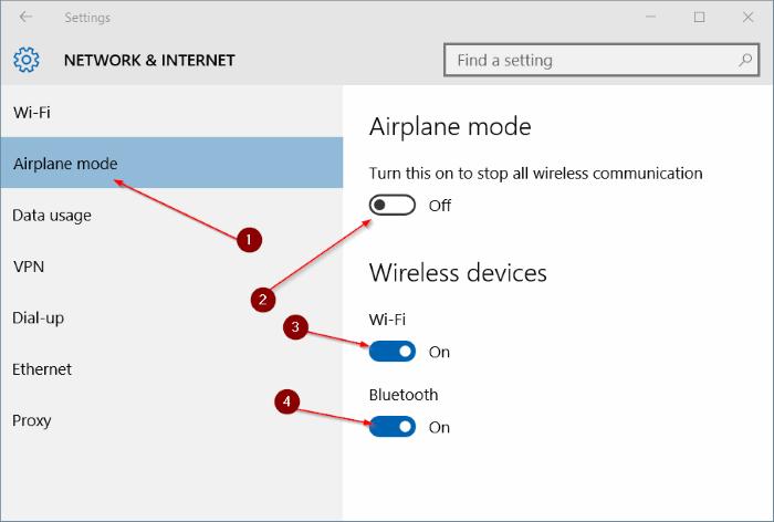 El modo avión no se desactiva en Windows 10 step3