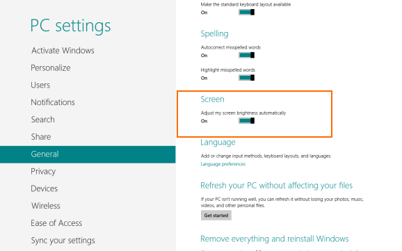 Automatically Adjust Screen Brightness In Windows 8