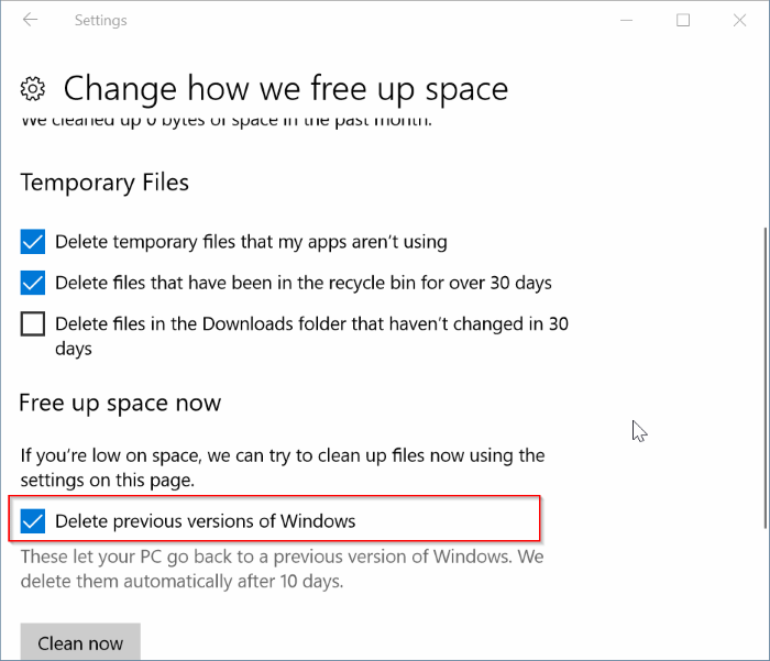Eliminar automáticamente los archivos de instalación de Windows anteriores en Windows 10 pic3