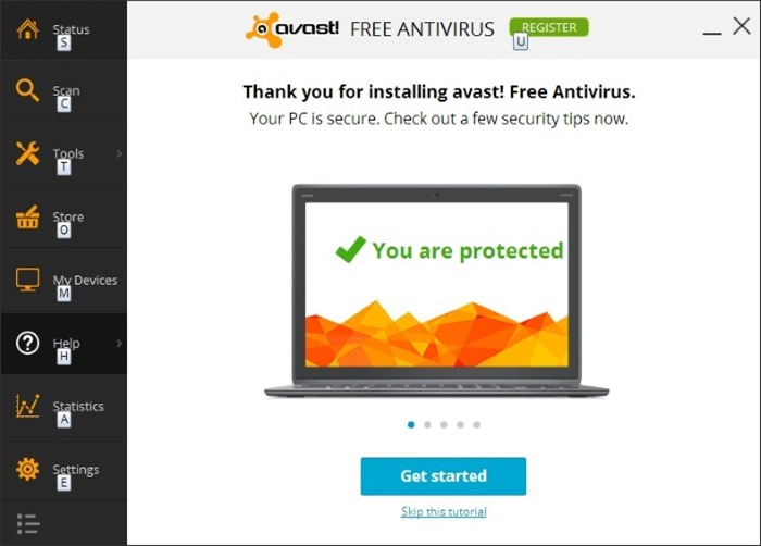 Avast free antivirus 2014 for Windows 7 picture1