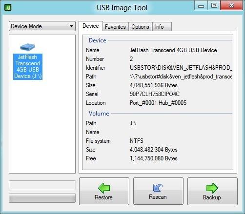 Unidad USB de inicio de copia de seguridad