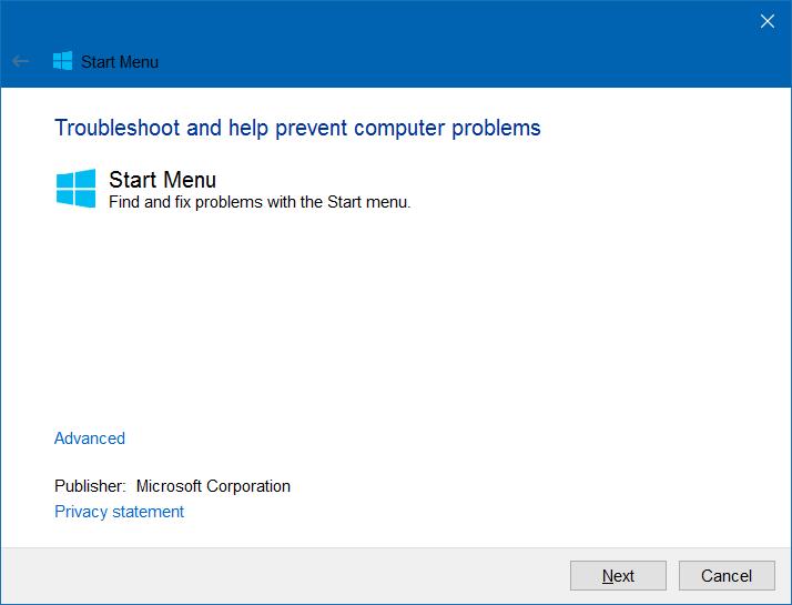 Tejas del menú Inicio en blanco Windows 10