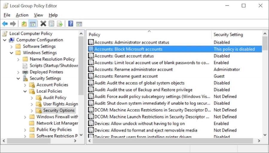 Bloquear o desactivar la cuenta de Microsoft en Windows 10 pic2