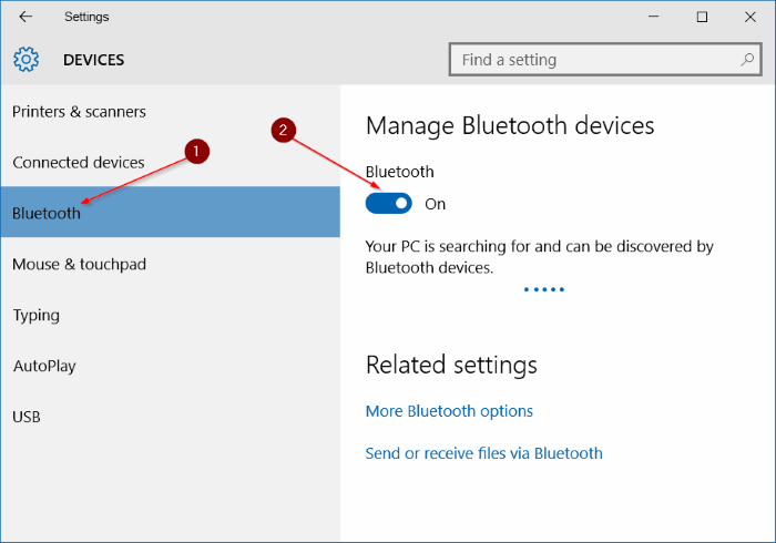 Falta icono Bluetooth en la bandeja del sistema Windows 10 step3