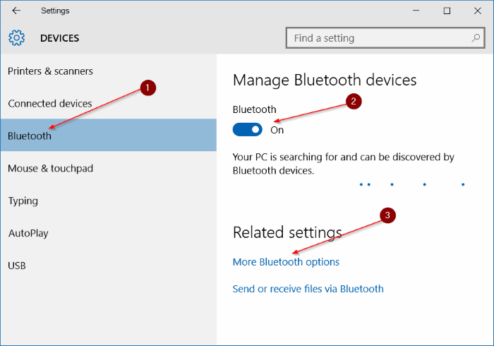 Falta icono Bluetooth en el paso 4 de la bandeja del sistema Windows 10