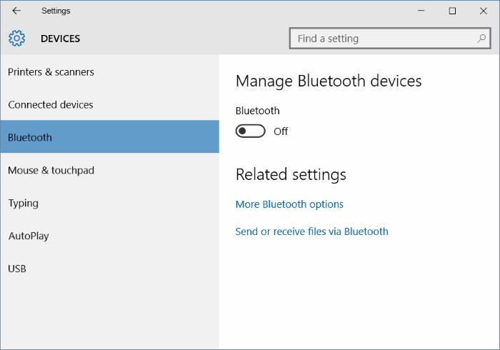 Falta Bluetooth en la configuración de Windows 10 image1