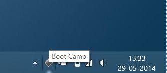 Falta el icono Boot Camp en el paso de bandeja del sistema de la barra de tareas
