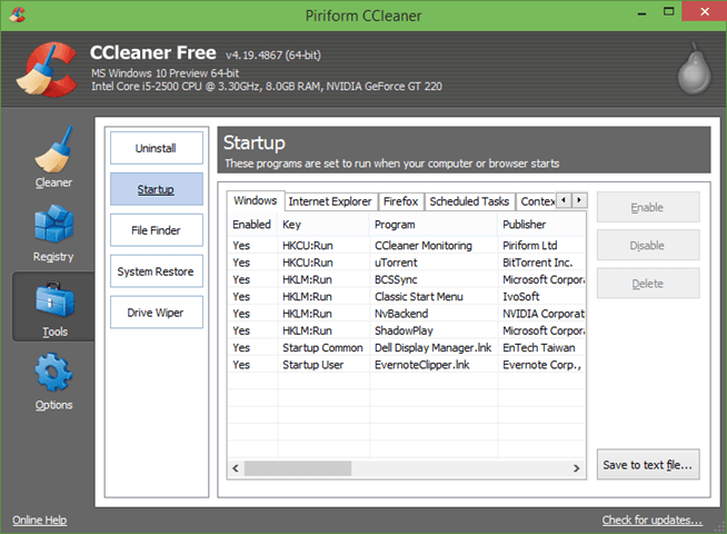 CCleaner for Windows 10 picture1