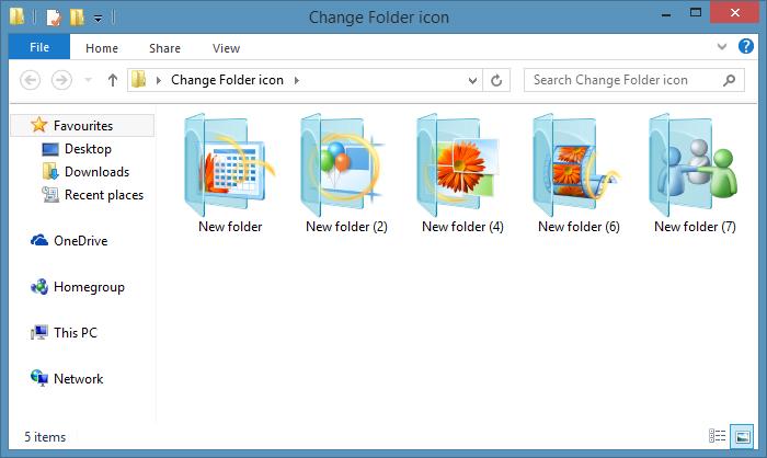 Icono de la carpeta Chagne en Windows 7 o Windows 8