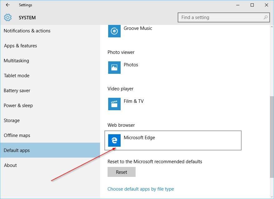 Cambiar navegador predeterminado en Windows 10 step3