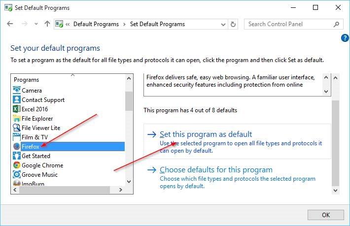 Cambiar navegador predeterminado en Windows 10 step8