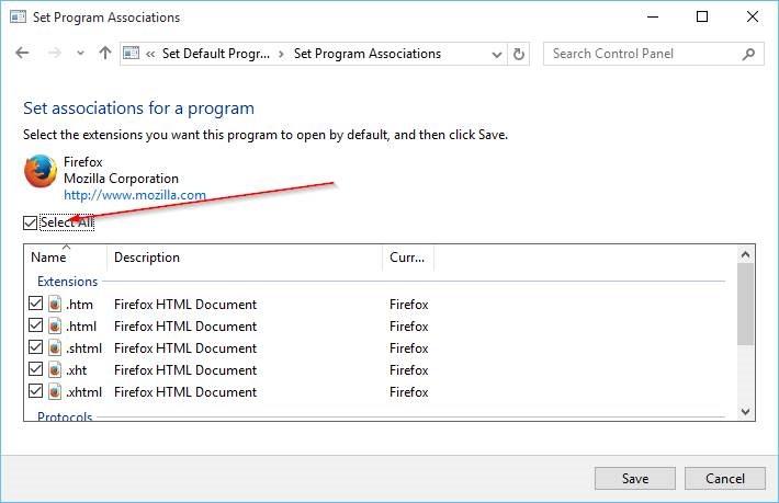 Cambiar navegador predeterminado en Windows 10 step91