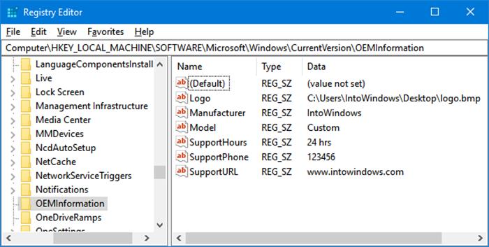 Cambiar el logotipo y la información del fabricante en Windows 10 pic1