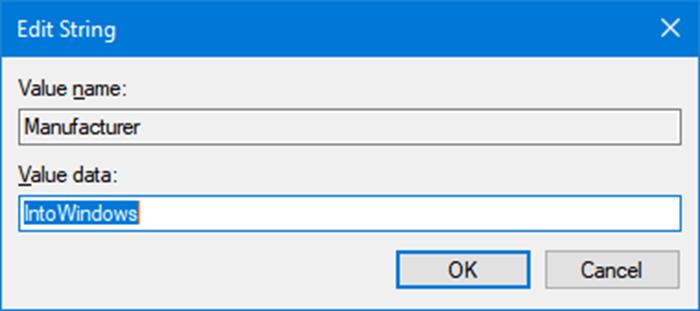 Cambiar el logotipo y la información del fabricante en Windows 10 pic4