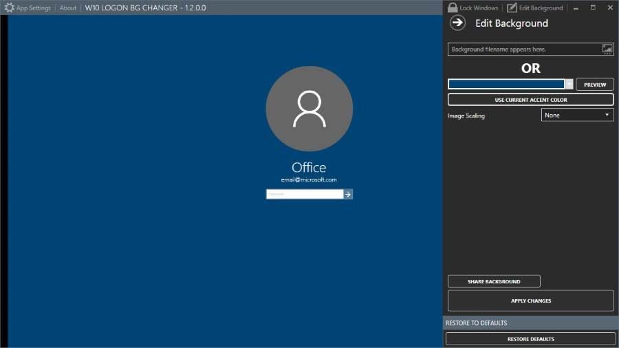 Change windows 10 login screen background