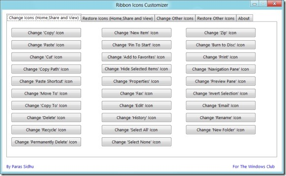 Change Windows 8 Ribbon Icons