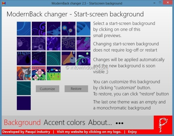 change Windows 8 start screen background image