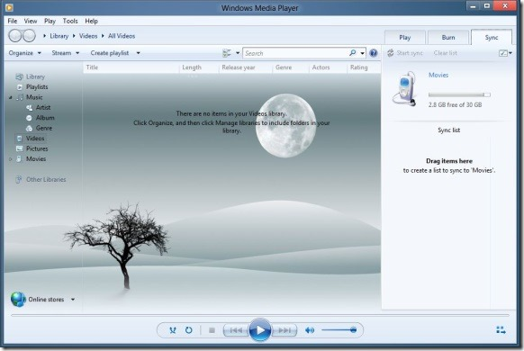 Change Windows Media Player Library Background In Windows 8