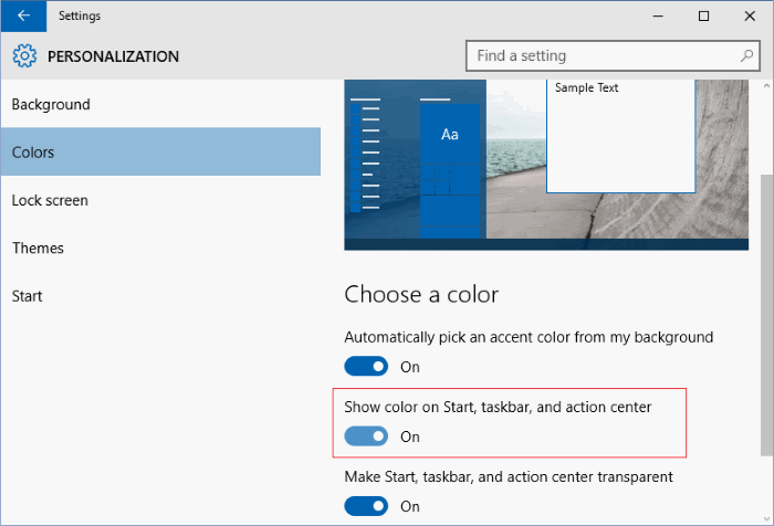 cambiar el color del menú de inicio de Windows 10