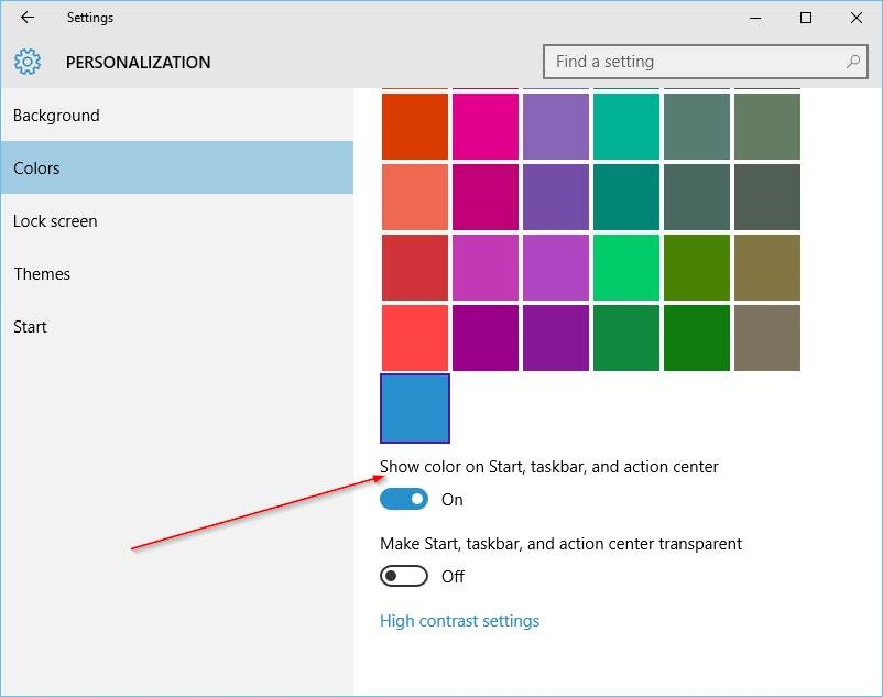 Cambiar el color de la barra de tareas en Windows 10 step2