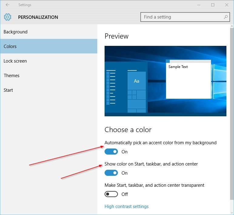 Cambiar el color de la barra de tareas en Windows 10 step4