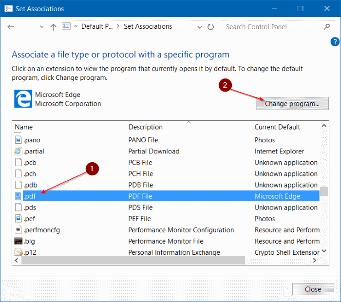 Cambiar el lector de PDF predeterminado en Windows 10 step7