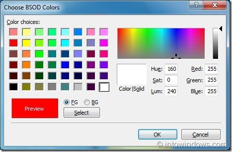 Cambiar el color de fondo de la pantalla azul de Death Screen