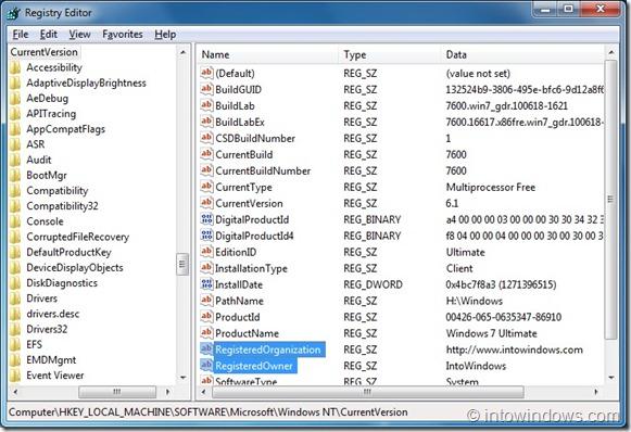 Cambiar el nombre del propietario registrado y de la organización en Windows 7
