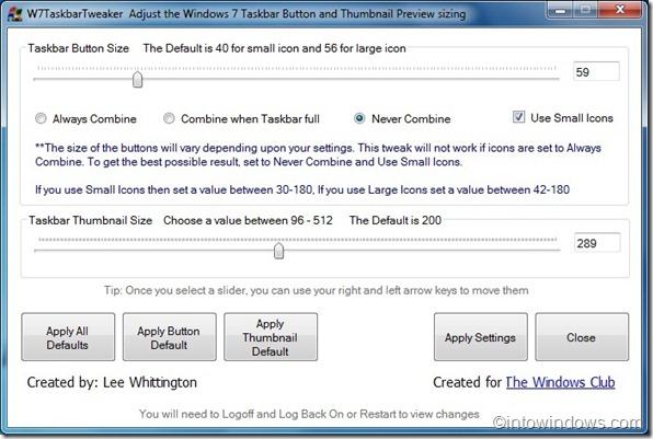 Cambiar el tamaño del botón de la barra de tareas de Windows 7