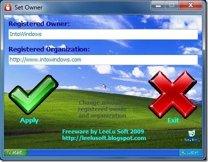 Cambiar información de propietario y organización en Windows 7
