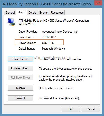 Comprobar la versión del controlador en Windows