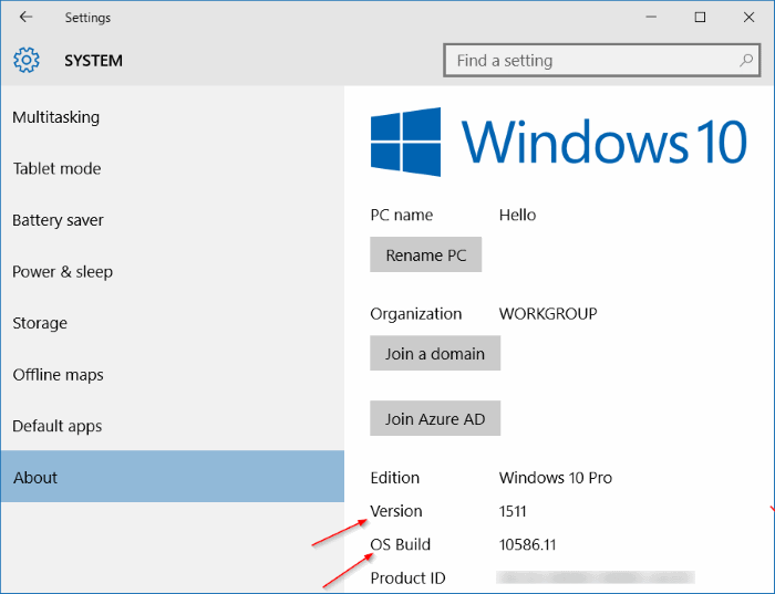 Check If Windows 10 November or Threshold 2 is installed pic2