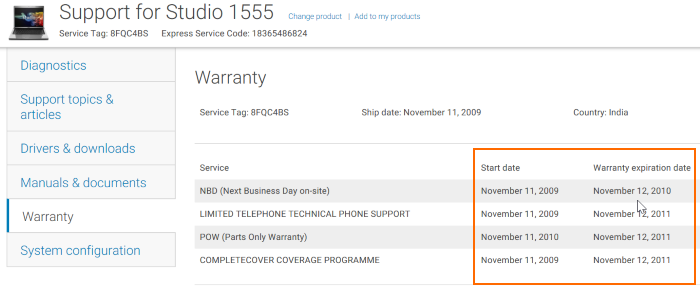 Check dell laptop warranty status online pic2