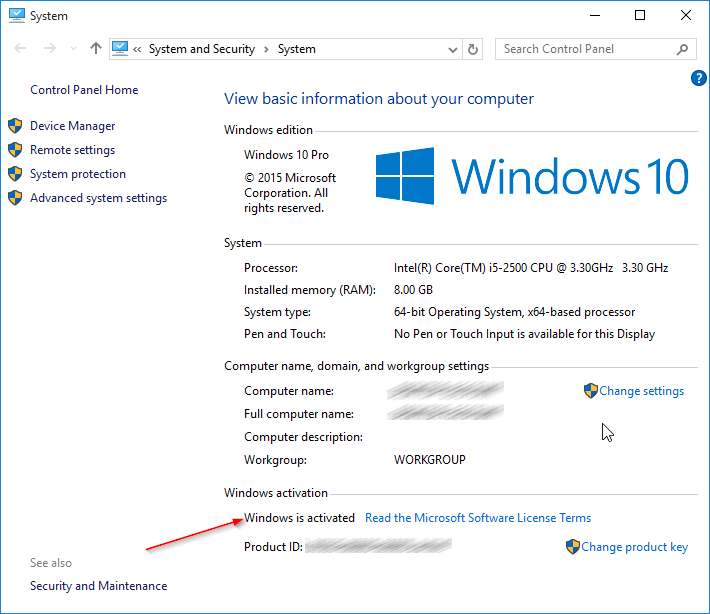 Check if your Windows 10 is activated step5