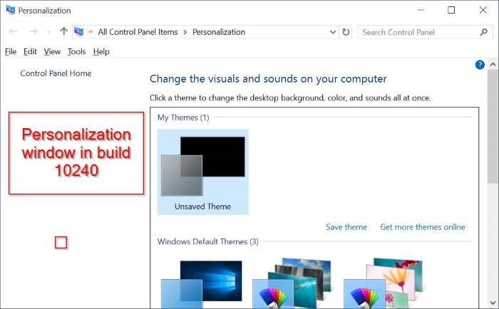 La ventana de personalización clásica vuelve a Windows 10