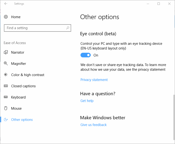Control keyboard and mouse using eyes in Windows 10