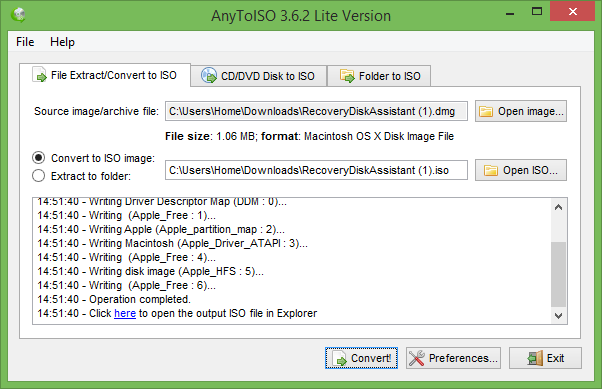 Convertir DMG a ISO en Windows de forma gratuita